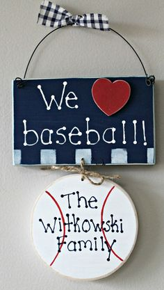 Wooden Personalized Family We Love Baseball Sign by lauraswoodshed, $11.00