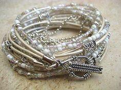 "Boho Chic Endless Leather Wrap Beaded Bracelet..White W""FREE SHIPPING"" by LeatherDiva, #gold| http://jewelry394.flappyhouse.com"