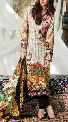 Buy Off-White/Black Printed Silk Karandi Salwar Kameez by GulAhmed 2015 www.pakrobe.com  Call:(702) 751-3523 Email: Info@PakRobe.com https://www.pakrobe.com/Women/Clothing/Buy-Winter-Salwar-Kameez-Online #WINTER #SALWAR #KAMEEZ