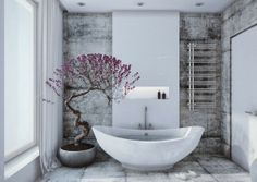 Amazing simple #Bathroom with a plant that adds a pop of color.  http://www.remodelworks.com/