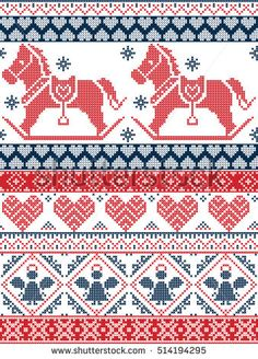 Cross Stitch Borders Seamless Scandinavian Printed Textile style and inspired by Norwegian Christmas and festive winter seamless pattern in cross stitch with snowflakes, rocking horse, angel hearts, ornaments in red, blue - Cross Stitch Fabric, Cross Stitch Borders, Cross Stitch Designs, Cross Stitch Embroidery, Cross Stitch Patterns, Knitting Charts, Knitting Patterns, Crochet Patterns, Christmas Knitting