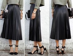Pleated Leather Midi Skirt — SHEBA'S HEIRESS