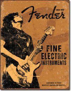 Fender Rock On Guitar Fine Electric Instruments Distressed Retro Vintage Tin Sign Rock Vintage, Vintage Tin Signs, Retro Vintage, Vintage Posters, Vintage Music, Rare Guitars, Vintage Guitars, Fender Stratocaster, Pop Rock