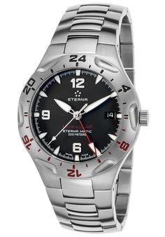 Eterna 11161241400173FRA Watches,Men's Monterey Automatic GMT Stainless Steel Black Dial, Luxury Eterna Automatic Watches