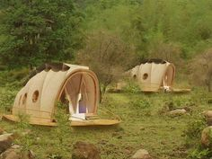 "Nomadic Resorts self-sufficient living pods:  the Looper is mobile, luxury ""self-sufficient living pod"" of tensile fabric stretched over a sustainably-sourced wooden frame. (Find resorts using this! http://www.nomadicresorts.com/ )   www.treehugger.com/sustainable-product-design/nomadic-resorts-prefab-mobile-tent-looper.html"