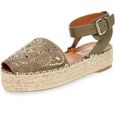Valentino Garavani Women's Studded Butterfly Suede Espadrille - Green,... (1.991.575 COP) ❤ liked on Polyvore featuring shoes, sandals, green, butterfly sandals, braided sandals, peep toe espadrilles, peeptoe shoes and studded espadrilles