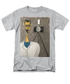 Portraits Men's T-Shirt (Regular Fit) featuring the drawing This Man That Man Ray by Mario Perron Man Ray redefined whimsy into the Dada movement. Take some time and look through pictures of him and taken by him, they are filled with a love of silly contrasted with serious. Most have him with a barely visible smile on his face and a false seriousness in his eyes. It's all about fun!  #portraits #art #manray