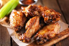 Every year, my mom makes delicious marinated teriyaki chicken wings for the super bowl. Those wings are SO tasty! Fried Chicken Wings, Oven Baked Chicken, New Year's Eve Appetizers, Appetizer Recipes, Balsamic Glazed Chicken, Tandoori Chicken, Barbecue Chicken, Teriyaki Chicken, Barbecue Sauce