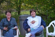 Fran and Me. Bon fire at Lisas
