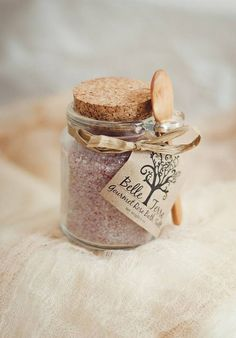 Rose bath salt favor with wooden spoon