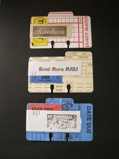 Rolodex cards using some mail art rubber stamps I purchased while traveling. July 2013.
