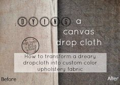 Make your own custom fabric! Transforming a Drop Cloth With RIT Fabric Dye. Learn how to mix any custom color to turn a drop cloth into inexpensive, usable fabric for any project. - Diy Crafts for The Home Drop Cloth Curtains, Floral Curtains, Rustic Curtains, Diy Curtains, Sheer Curtains, Farmhouse Curtains, Curtains Living, Velvet Curtains, Drop Cloth Slipcover