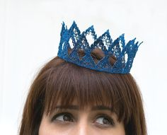 Blue Queen Fairytale Lace Crown by neesiedesigns on Etsy, $15.00