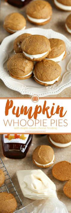 The classic New England dessert gets an update with pumpkin, spices, and maple! This Pumpkin Whoopie Pies with Maple Cream Cheese Frosting recipe is the perfect fall dessert!