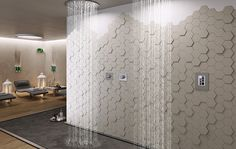 Nemo Tile has unveiled its new Imprint collection, featuring varying three-dimensional tile depths 10 or 13 millimeters) to create intricate patterns suitable for residential, commercial and hospitality settings. 3d Tiles Bathroom, 3d Wall Tiles, Wall Tiles Design, Bathroom Ideas, Minimalist Interior, Interior Design Studio, Stone Tiles, Bathroom Styling, Three Dimensional