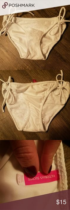 Xs VS white crochet bikini bottoms This white Victoria Secret adjustable string bikini bottom features adorable crochet pattern! Used for one weekend trip. This is in like new condition!  No signs of wear, pilling, or discoloration! Not see through when wet. Offers welcome! Victoria's Secret Swim Bikinis