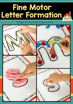 Fine Motor Letter Formation Practice Mats are the way to practice letter formation.  These are not tracing sheets, (although they can be used that way), but rather practice sheets designed to develop fine motor skills while learning letter shapes.  The letter formation sheets are designed to be used with play dough, floral pebbles, buttons, or any other small counters.