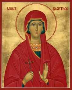 Orthodox icon of Saint Beatrice or Beatrix the Martyr. Commemorated July Saint Beatrice lived around 303 A. Saint A, Holy Family, Orthodox Icons, Religious Art, Spiritual Growth, Religion, Canvas Art, Spirituality, Culture
