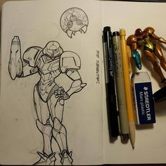 Great #penandink #drawing by Dan Lindbergh (@danlindbergdraws) of Samus Aran heroine of the Metroid videogame series together with the baby metroid she that she discovered in the Game Boy Metroid 2 and encountered again in Super Metroid.  Love the classic pose and Dan included some great details on the Chozo battle armor and the Metroid' inner bits. Overall great #inktober piece Dan! ::------:: #Samus #Metroid #supermetroid #fanart #Nintendo #SNES #inktober #mechanicalpencil #sketchbook…