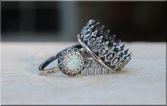 Light Opal Ring Crown Bezel Set Quartz Ring by thewrappedpixie