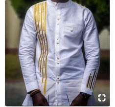 White and gold Men African Fashion Wear African Clothing Mens Special occasion Wear African Print Wear Modern African Clothing, African Men Fashion, African Wear, African Women, African Clothes, Men African Shirts, African Attire For Men, Fashion Wear, Mens Fashion
