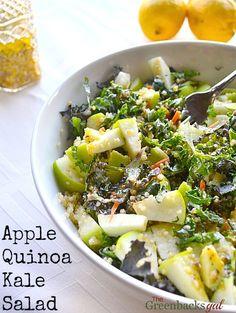 Apple Quinoa Kale Salad Recipe...would use oil free dressing instead. Vegan.