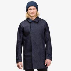 Norrøna oslo denim coat for men Denim Cotton, Raw Denim, Oslo, Thighs, Coat, Men, Thigh, Coats, Glutes