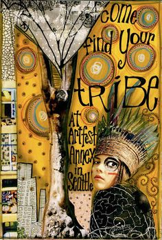 Teesha Moore is a mixed-media artist, creating visual journals, and a true entrepreneur. She created Zettiology, a line of rubber stamps and. Mixed Media Journal, Mixed Media Collage, Collage Art, Face Collage, Art Journaling, Art Journal Pages, Journal 3, Art Graphique, Art Journal Inspiration
