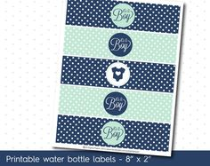 Mint and Navy blue baby shower water bottle labels, WA-19