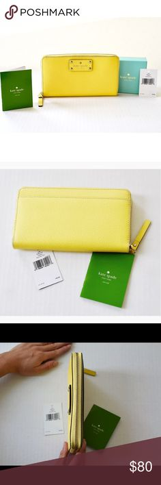 Wellesley Neda Wallet WLRU1153 -Limoncello This kate spade continental wallet I purchased from Nordstrom has never been used. It zips around to stow anything you may need, including all the cash or credit to carry in. It has its plentiful pockets and slots, including a coin compartment in the middle.     material  boarskin embossed cowhide with matching trim  14-karat light gold plated hardware  custom woven rainspot lining  12 credit card slots, 3 billfolds, zipper change pocket; exterior…