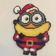 Christmas Santa Minion perler beads by littlelamb579