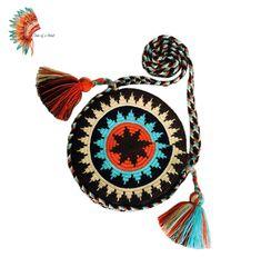Tapestry Crochet Patterns, Crochet Mandala, Loom Patterns, Boho Tapestry, Tapestry Bag, Crochet Shell Stitch, Crochet Stitches, Handmade Handbags, Handmade Bags