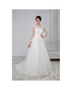 Značkové svadobné šaty na predaj áčkového strihu s krajkovaným živôtikom s dlhými priesvitnými rukávmi Formal Dresses, Wedding Dresses, Fashion, Boyfriends, Dresses For Formal, Bride Dresses, Moda, Bridal Gowns, Formal Gowns