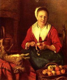 Gabriel Metsu Габриель Метсю (1629–1667) Apfelschälerin Датаоколо 1660-1770 Техникамасло по дереву Размеры28 × 26 см Музей Лувр