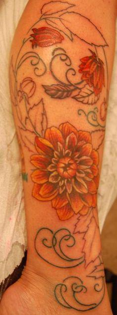 Zinnia Flower Tattoo Designs
