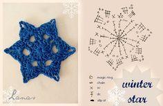 Crochet Winter Star - Tutorial for Crochet, Knitting. Crochet Snowflake Pattern, Crochet Stars, Crochet Motifs, Crochet Snowflakes, Crochet Diagram, Crochet Granny, Easy Crochet, Crochet Flowers, Crochet Stitches