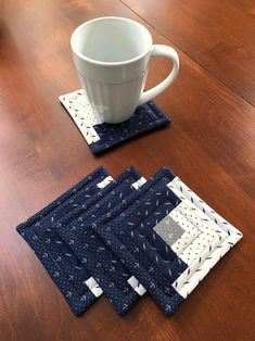 Your place to buy and sell all things handmade Quilted Coasters, Fabric Coasters, Mug Rugs, Log Cabins, Creamy White, Office Gifts, Nautical, Navy Blue, Quilts
