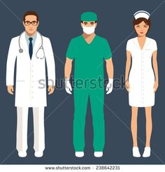 doctor and nurse team, hospital staff people, vector medical icon illustration  - stock vector