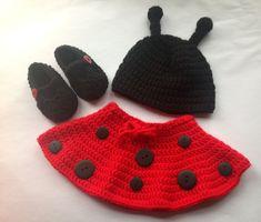Handmade Crochet Ladybug outfit set hat skirt and от SueStitch, $24.99
