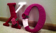 have fun! Yarn Letters, Wood Letters, Felt Flowers, Hot, Home Decor, Felted Flowers, Wooden Letters, Decoration Home, Room Decor