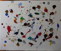 Grande Peinture Acrylique Abstraite Confettis Colorés 60 x 73 cms