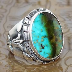 Ring Turquoise Silver Sterling Mens Handmade authentic jewelry Persian Firoza #KaraJewels #Handcrafted