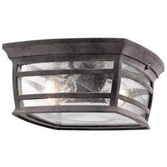 Kichler McAdams 2 Light Outdoor Flush Mount Ceiling Fixture - Weathere