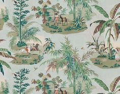 A charming escapade around a sugar mill that recalls vacation time in Martinique. Here, the vegetation sparkles in the sunshine. Designed in 1953 by Margerin and part of the Pierre Frey archives, this drawing is in an extra-wide print. Office Wallpaper, Old Wallpaper, Print Wallpaper, Animal Wallpaper, Fabric Wallpaper, Interior Wallpaper, Wall Sealer, Custom Carpet, Cool Lighting