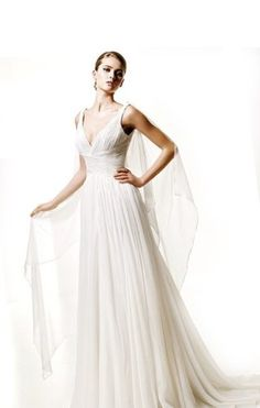 Amazon.com: 2013 Fashion A-Line/Princess V-neck Chapel Train Wedding Dress With Draped/Handmade Flowers: Clothing