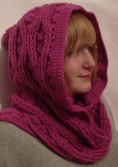 Ravelry: Cable and Clusters Hooded Scarf Scoodie pattern by Thomasina Cummings