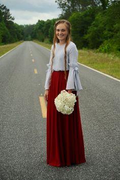 """Madalyn Grace"" maxi skirt- Burgundy"