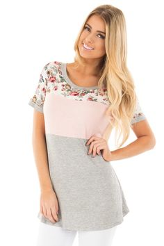 Lime Lush Boutique - Peach and Floral Color Block Short Sleeve Top, $34.99 (https://www.limelush.com/peach-and-floral-color-block-short-sleeve-top/)