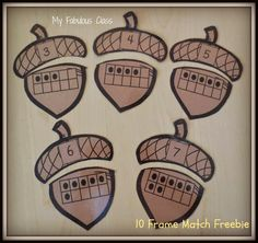 FREEBIE for Fall in Kindergarten. Matching Ten Frames and addition with fall leaves Kindergarten Math Activities, Math Classroom, Teaching Math, Preschool Activities, Math Resources, Math Games, Kids Math, Math Stations, Math Centers
