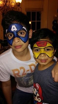 Captain America and iron man face painting Dinosaur Face Painting, Superhero Face Painting, Face Painting For Boys, Body Painting, Face Painting Images, Face Painting Designs, Iron Man Face Paint, Iron Man Party, Costume Makeup